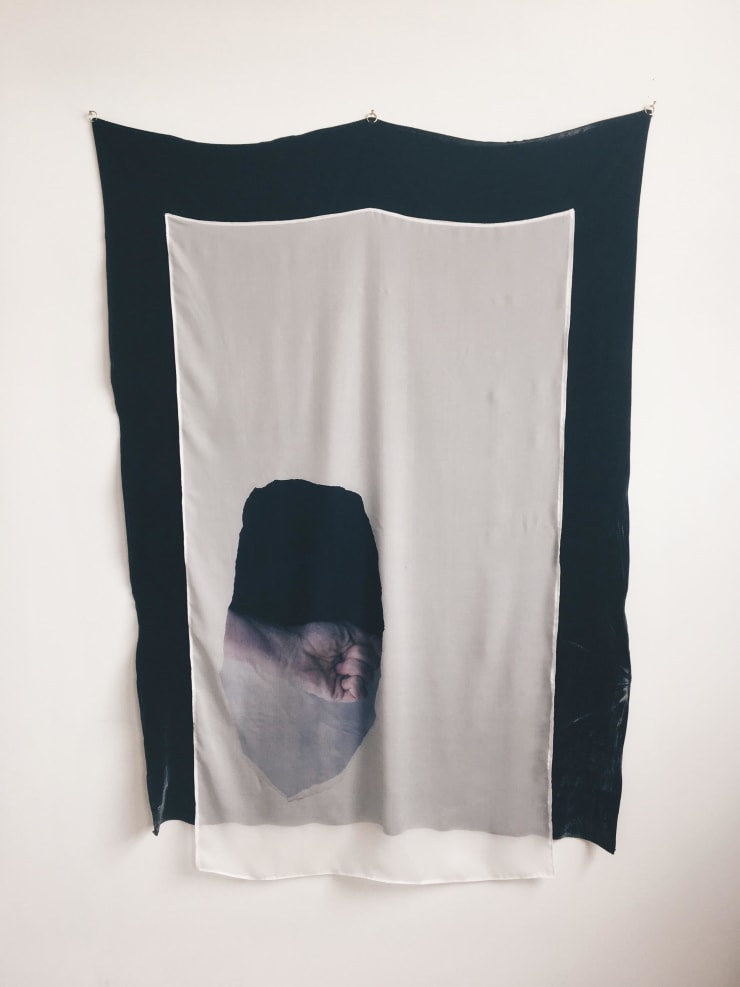Kate McMillan The Vast Structure of Recollection II, 2018 digital print on silk chiffon, mounted onto silk velvet, bronze hoops 58 3/10 × 39 in148 × 99 cm