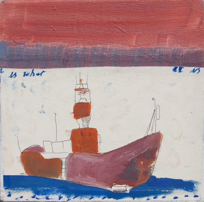 Isaac Aldridge It Is Dark, Don't Sit Down, Sail Away, 2018 oil and paper on canvas 8 1/10 x 8 1/10 in 20,5 x 20,5 cm