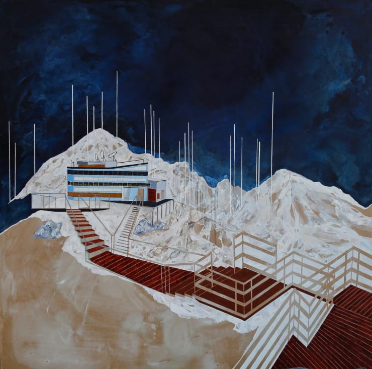 Charlotte Keates Sulphur Mountain, 2017 acrylic and oil on board 39 2/5 × 39 2/5 × 2 in100 × 100 × 5 cm