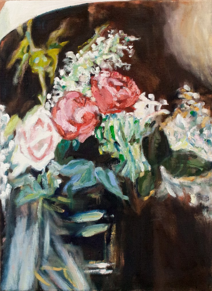 Lara Davies Detail from 'Vase de Lilas Blancs et Roses' from 'The Last Flowers of Manet', 2019 oil on linen 40 x 30 cm