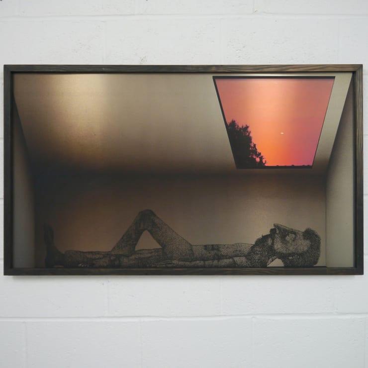 Thomas Adam Dusk in Bonnybridge, 2019 One-off screen print and digital image on aluminium, ink wash on Douglas Fir 133 x 86 x 2 cm