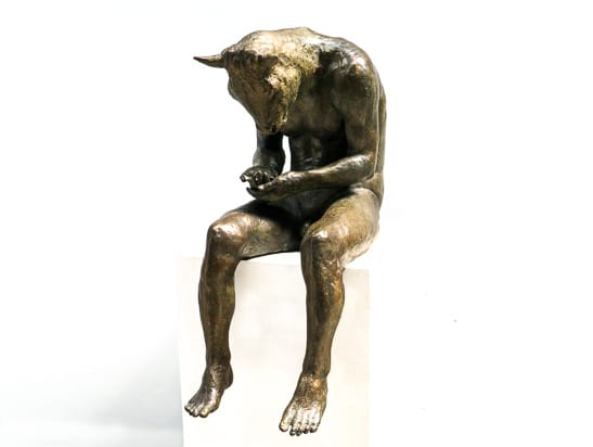 Beth Carter Reading Minotaur bronze sculpture 29 1/10 × 18 9/10 × 12 3/5 in74 × 48 × 32 cm