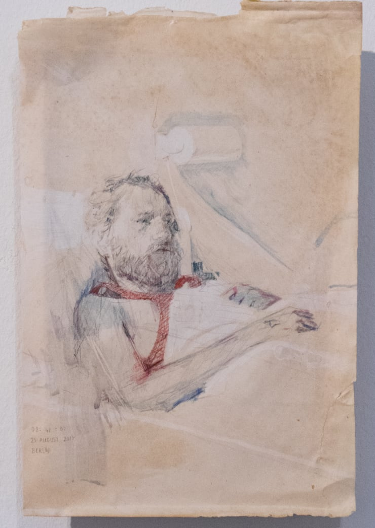 Casper White Next Day (Owain), Berlin Pencil and watercolour on found paper 25 x 17.5 cm