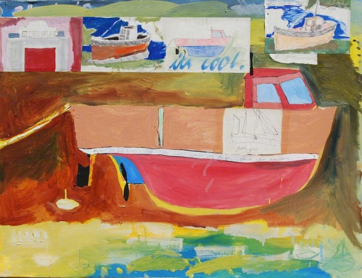 Isaac Aldridge Harwich to Falmouth and Back Again, Geddon, 2018 oil and paper on canvas 36 3/5 x 24 in93 x 61 cm