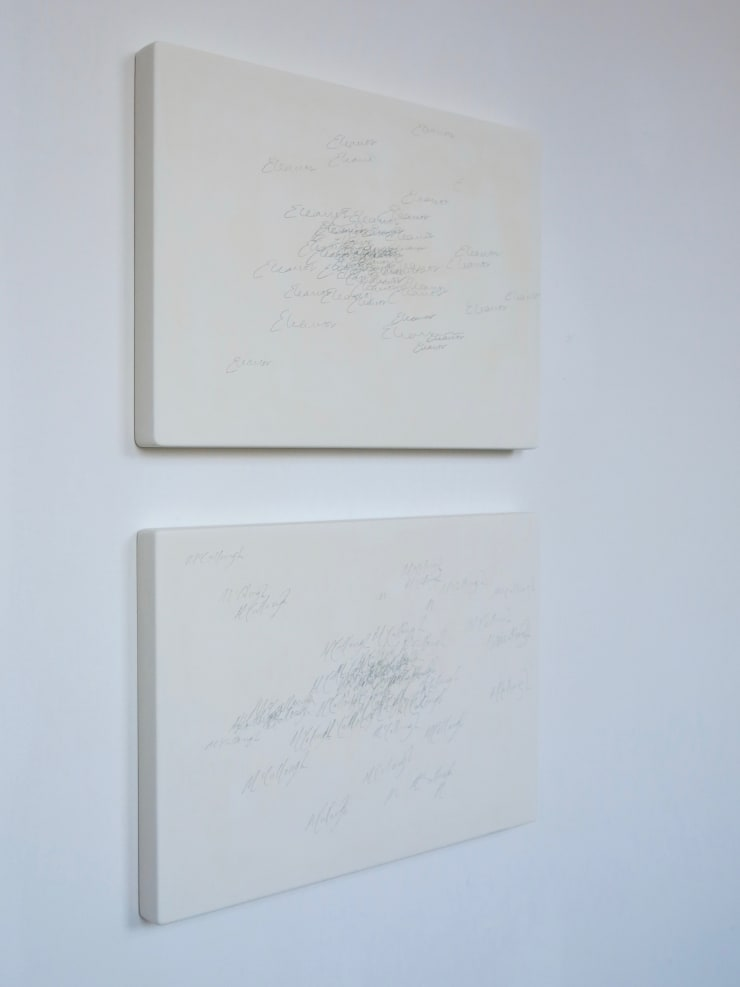 Eleanor McCullough Yours, signed, 2018 carbon copy trace and laser on plaster 42 x 29.7 cm