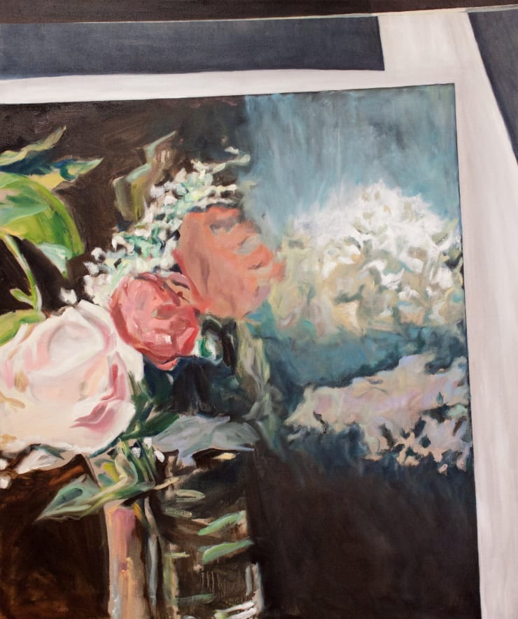 Lara Davies 'Vase de Lilas Blancs et Roses' from 'The Last Flowers of Manet' in the sunlight, 2019 oil on linen 120 x 100 cm