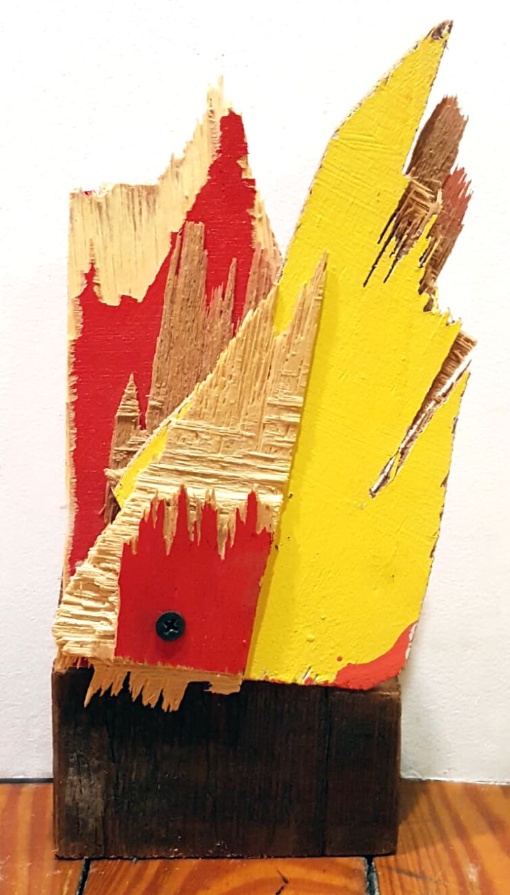 Abby Goodman Fire No.3 Painted wood, torn and cut, screwed together with old barn wood 4 x 4 x 6 in 10.2 x 10.2 x 15.2 cm