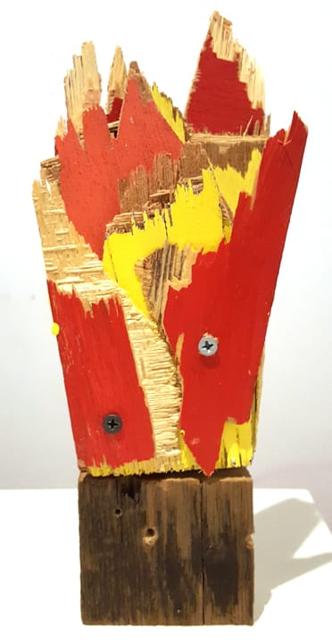 Abby Goodman Fire No. 1 Painted wood, torn and cut, screwed together with old barn wood 4 x 4 x 8 in 10.2 x 10.2 x 20.3 cm