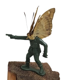 Abby Goodman Soldierfly Standing Butterfly, plastic toy , glass bell jar with wood base with standing figure