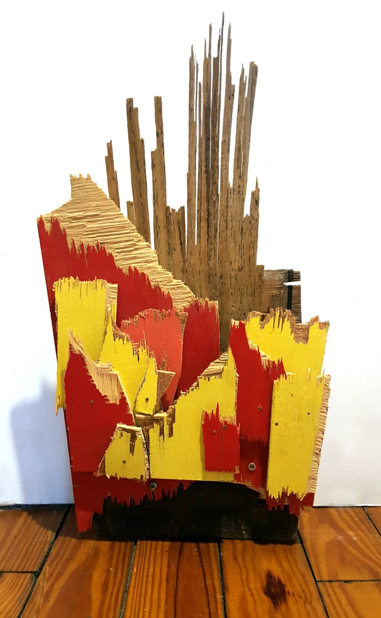 Abby Goodman Fire with Flooring Painted wood, torn and cut, screwed together with old barn wood 12 x 5 x 16 in 30.5 x 12.7 x 40.6 cm