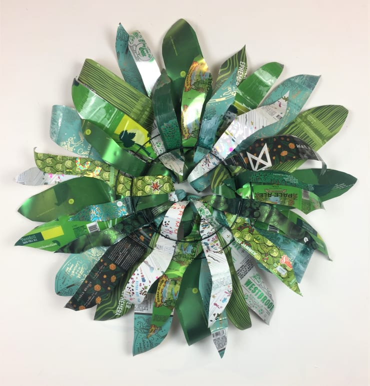 Christina Massey Wreath 2, 2019 enamel and paper on aluminum 28 in 71.1 cm