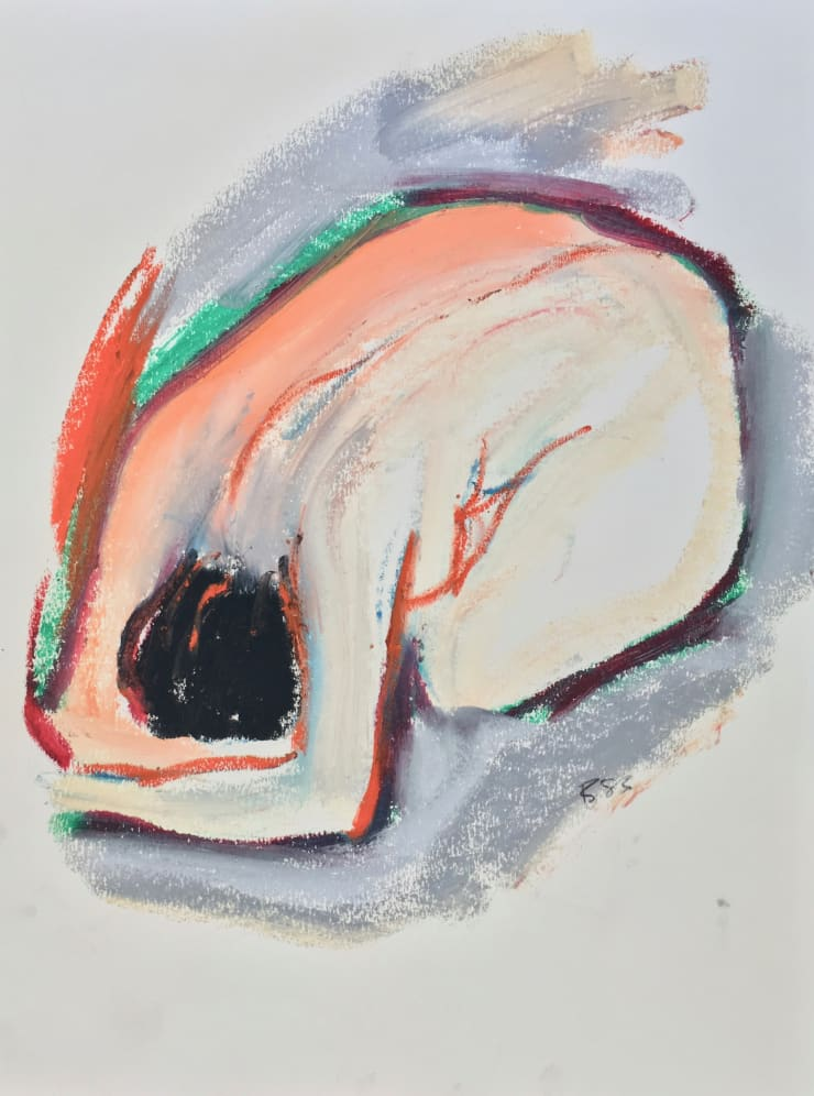 Freeman W. Butts Curled up Nude, 1983 Mixed Medium, Ink, charcoal, acrylic, oil pant stick on paper 24 x 18 inches