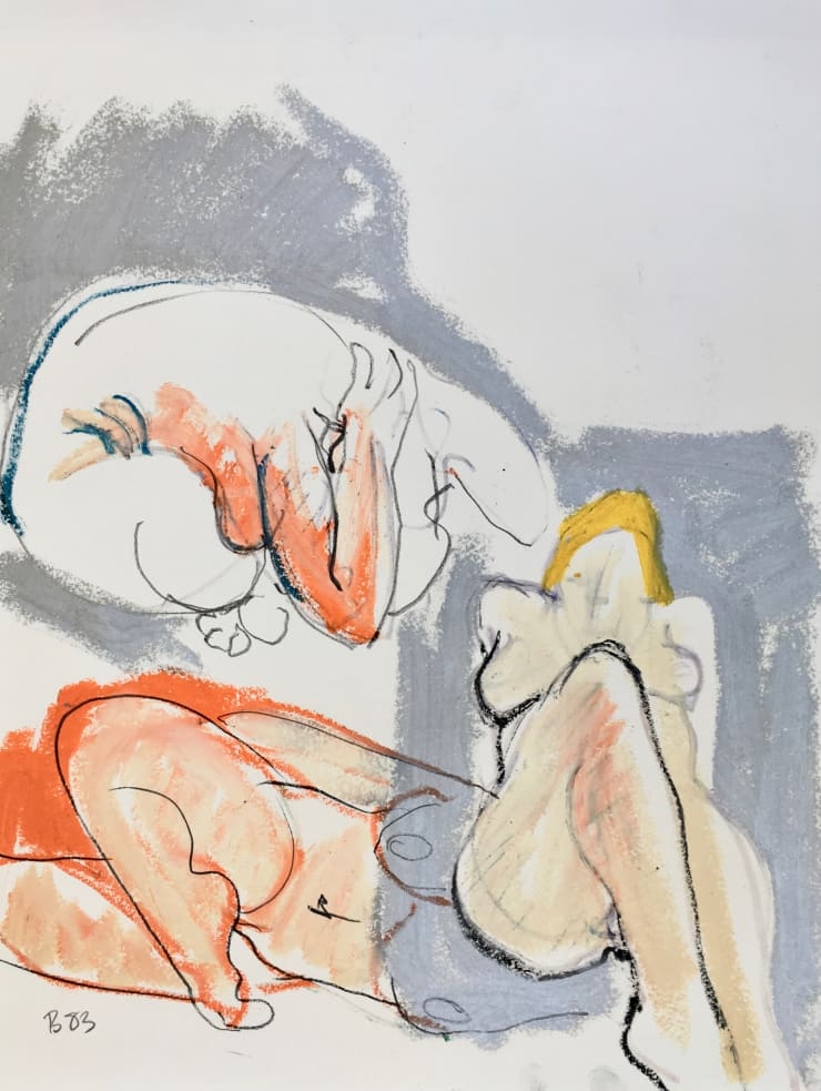 Freeman W. Butts Multiple Nudes on Silver, 1983 Mixed Medium, Ink, charcoal, acrylic, oil pant stick on paper 24 x 18 inches