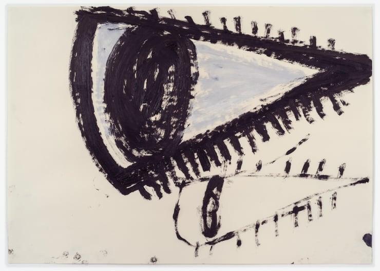 Rose Wylie Black Eye x 2 , 2018 Oil on paper 23 1/2 x 33 1/8 in 59.6 x 84.1 cm