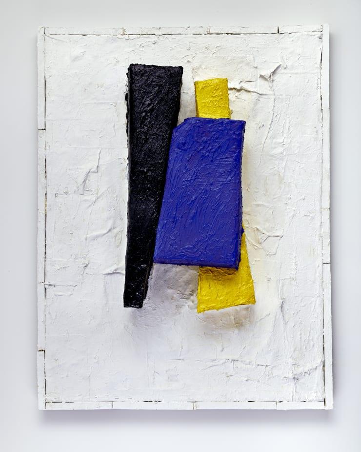 Greg Haberny Broken Chair, 2018 Wood, body casting, foam, canvas, gel medium, paint, saw dust in custom artist frame 42 x 32 x 8 1/2 in 106.7 x 81.3 x 21.6 cm