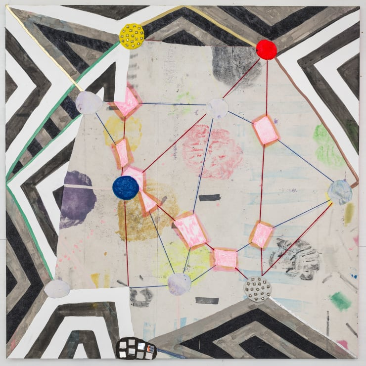 Laurel Sparks Geomantria, 2018 Poured gesso, acrylic, ink, crayon, paper mache, ash, glitter, jingle bells, mirrors, cut holes, collage, yarn on canvas 54 x 54 in 137.2 x 137.2 cm