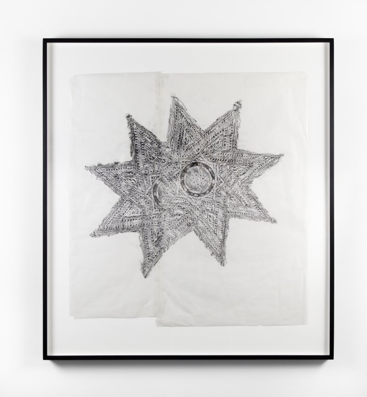 Ana Wolovick Sefrou Serving Platter no.1, 2017 Graphite on shoji paper, with artists tape, framed 38 1/8 x 34 in 96.8 x 86.4 cm