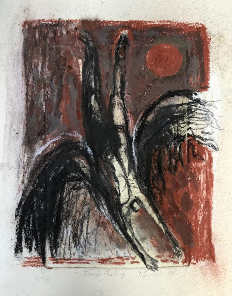Davina Jackson Icarus Falling in Red, 2018 Mixed media on paper 22 x 17 cm 8.6 x 6.7 in
