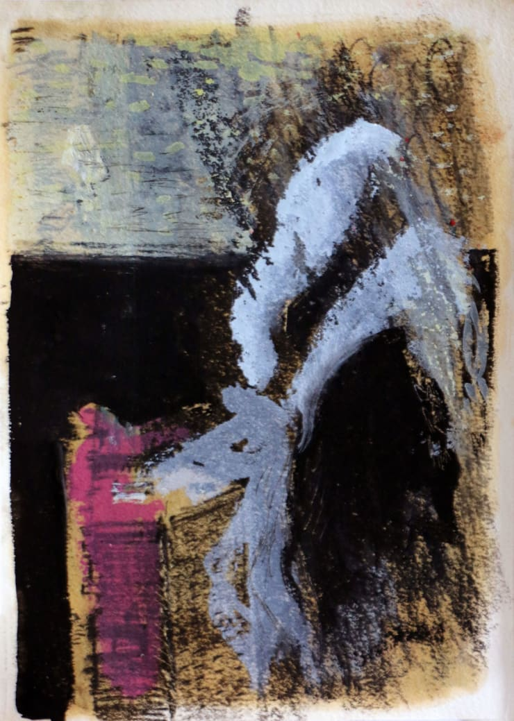 Davina Jackson The Visit, 2018 Pencil, gouache and charcoal on paper 19 x 14 cm