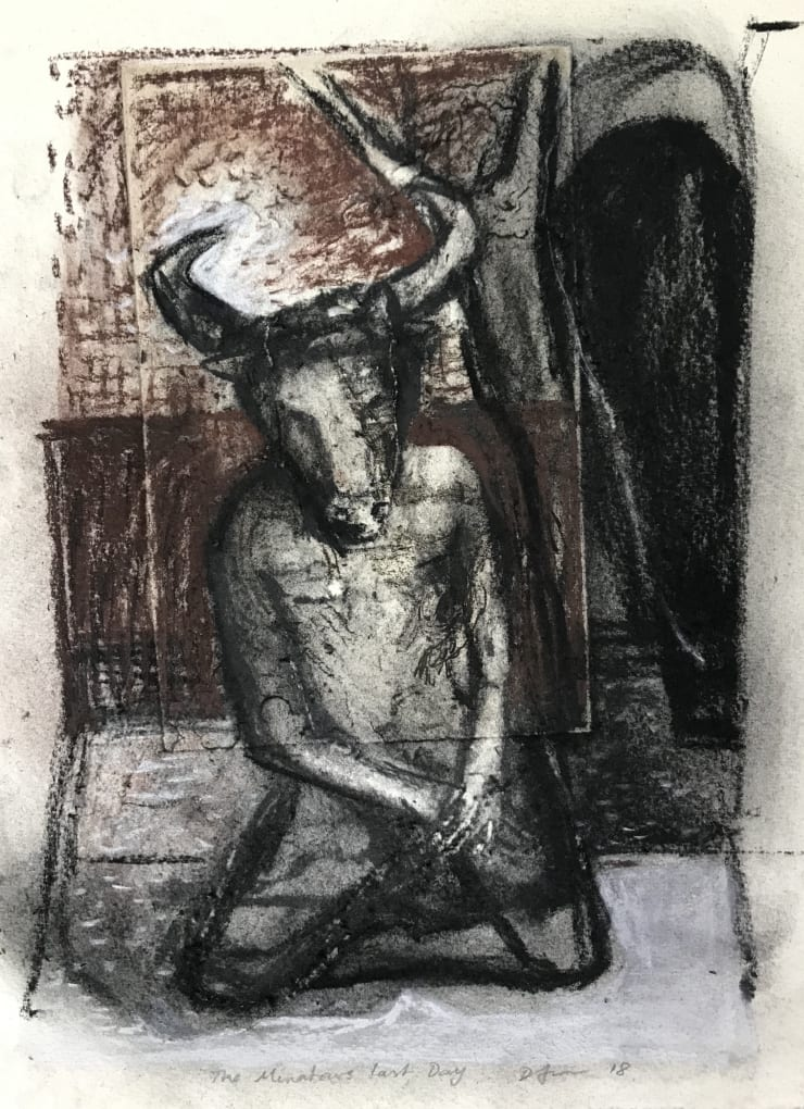 Davina Jackson The Minotaur's Last Day II, 2018 Pencil, conte and charcoal on paper 28 x 22 cm 11.1 x 8.6 in