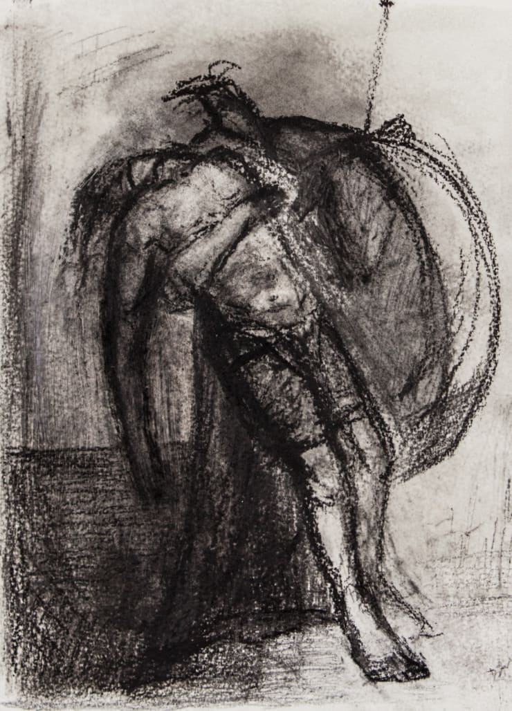 Davina Jackson Menelaus and Patroclus, 2018 Pencil, conte and charcoal on paper 25 x 19 cm 9.8 x 7.5 in