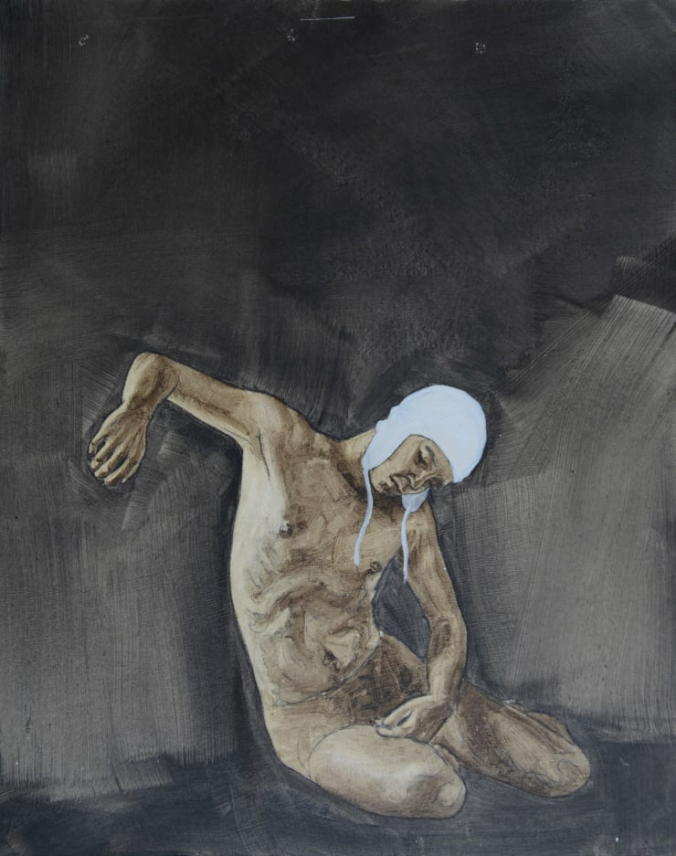 Pippa Young Study 2 for: Descent, 2016 Oil on primed card 19 3/10 × 15 7/10 in 49 × 40 cm