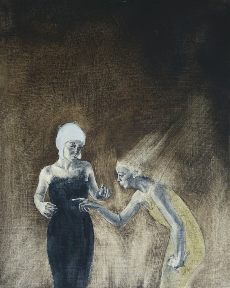 Pippa Young Study 2 for: Self-doubt, 2015 Oil on primed card 19 3/10 × 15 7/10 in 49 × 40 cm