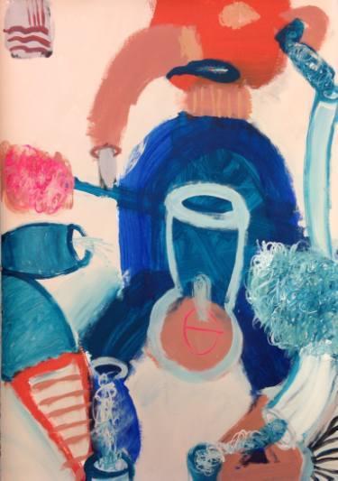 Tahnee Lonsdale Figure 2, 2015 acrylic on paper 43 3/10 x 31 1/2 x 2 in110 x 80 x 5 cm