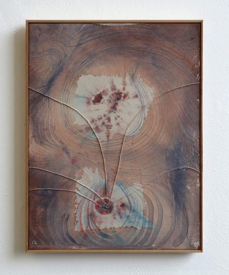 Aimée Parrott Plica, 2019 Watercolour monotype, acrylic & thread on cotton with pine surround. 41 x 25 cm