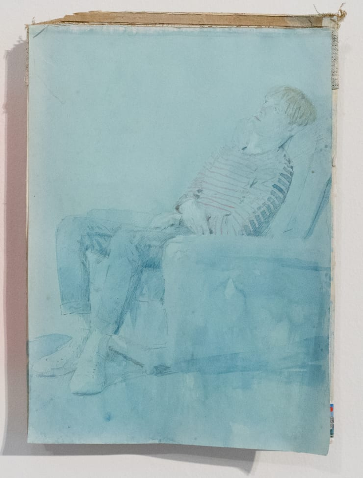 Casper White Next Day 4 (George), Berlin Pencil and watercolour on found book cover 31 x 22 cm
