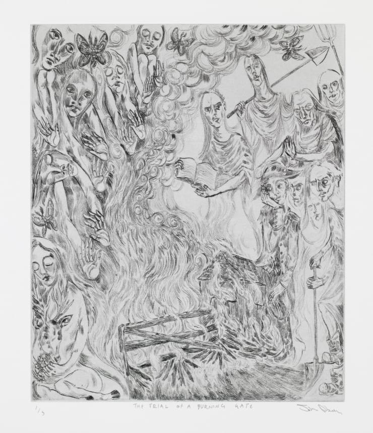 John Abell The Trial of a Burning Gate, 2019 drypoint engraving 77 x 57.5 cm