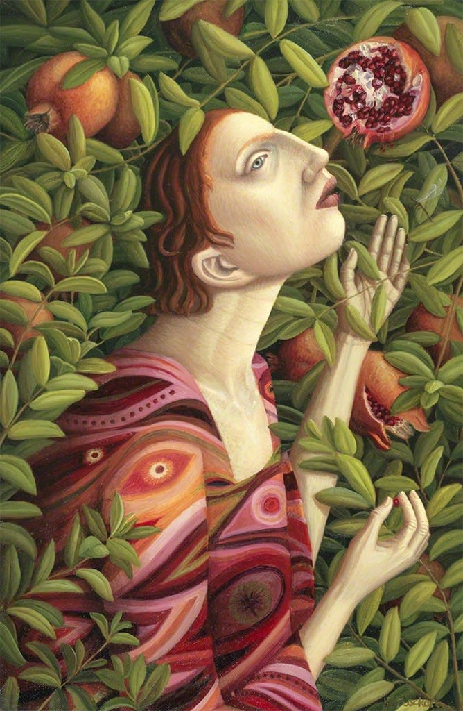 Helen Flockhart Plucking Pomegranates, 2017 Oil on board 40 × 26 × 2 cm