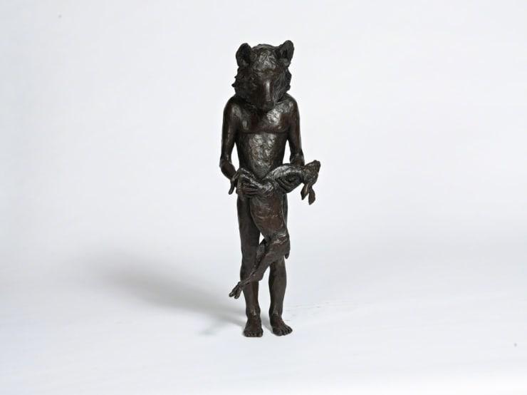 Beth Carter Wolf with Deer bronze sculpture 28 × 11 × 9 1/10 in71 × 28 × 23 cm
