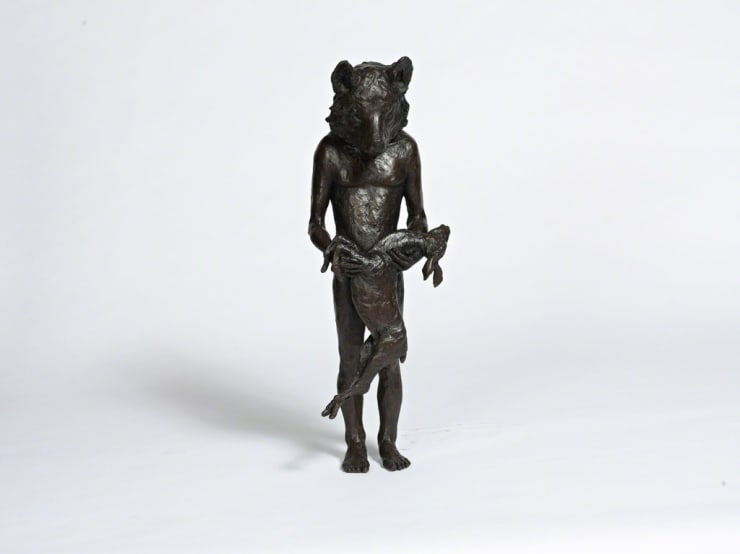 Beth Carter Wolf with Deer Bronze sculpture 71 × 28 × 23 cm