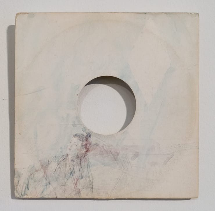 Casper White Next Day 7 (Hannah), Berlin Silverpoint, pencil and watercolour on found record sleeve 31 x 31 cm