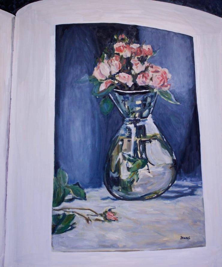 Lara Davies 'Roses Mousseuses dans un Vase' from 'The Last Flowers of Manet' 2, 2019 oil on canvas 120 x 100 cm