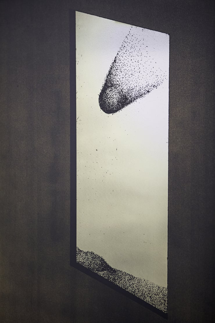 Thomas Adam Stargazer, As True To Nature As I Could Do It Without Being Observed, 2018 One-off screen print and digital image on aluminium, ink wash on Douglas Fir 183 x 153 x 2 cm