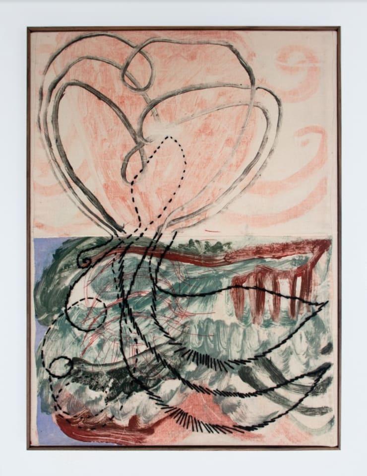 Aimée Parrott Gaia's Kidney, 2019 Monotype, ink and cotton on calico 55 x 40.5 cm