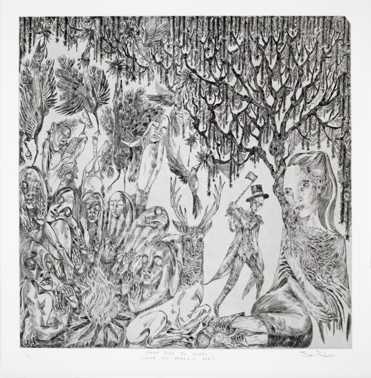 John Abell From Dust to Ashes (Keep the Phoenix Fed), 2019 drypoint engraving 111 x 78 cm