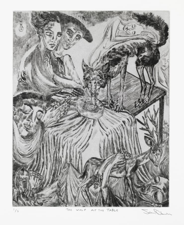 John Abell The Wolf at the Table, 2019 drypoint engraving (unframed) 57.5 x 37.5 cm