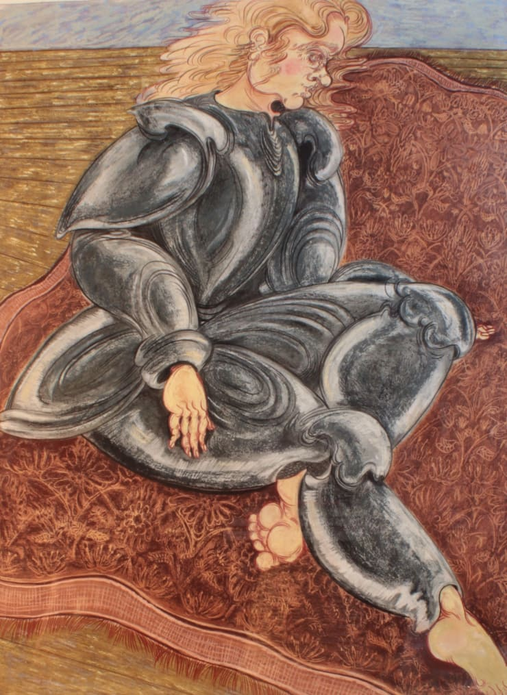 Plum Cloutman Carpet Knight, 2019 soft pastel and coloured pencil on watercolour paper 57x76cm