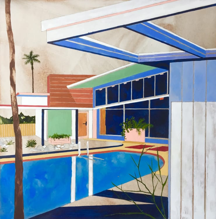 Charlotte Keates Twin Palms, 2017 Oil and acrylic on board 32 x 32 cm