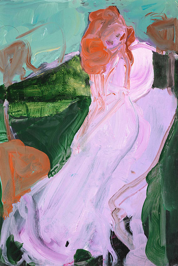Elaine Speirs  Garden Party, 2017  Oil on board  11 2/5 × 7 9/10 in  29 × 20 cm