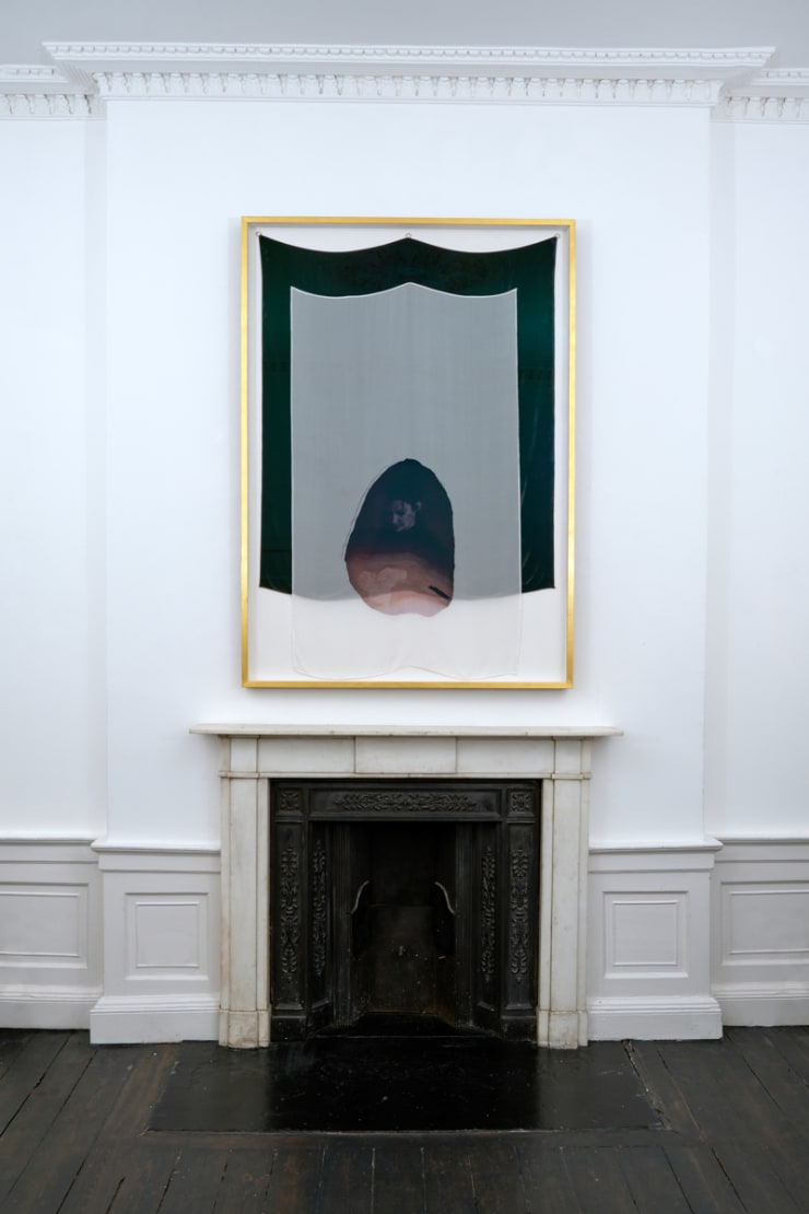 Kate McMillan The Vast Structure of Recollection III, 2018 Digital print on silk chiffon, mounted onto silk velvet, bronze hoops 167 × 110 cm