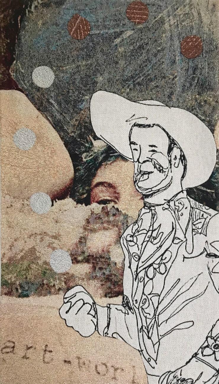 Elizabeth Stewart Art World Cowboy, 2019 Tapestry, digitally woven and hand appliquéd cotton 149 x 85 cm