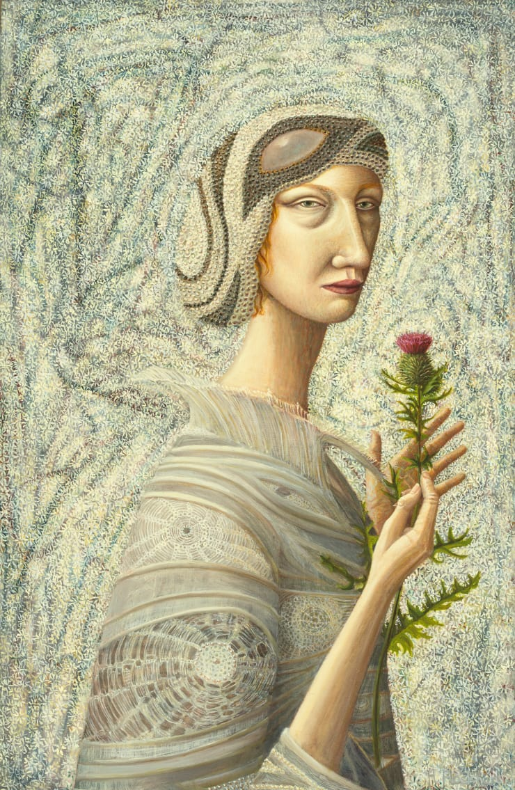 Helen Flockhart Do Not Touch Me or I Will Prick, 2018 Oil on board 40 x 26 cm
