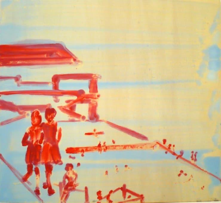 Ilona Szalay  The Pool, 2018  Oil on board  44 x 40 cm