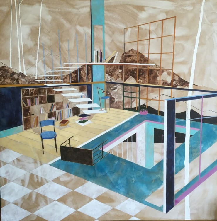 Charlotte Keates Spectators Perception, 2016 Oil and acrylic on board 100 × 100 × 4.5 cm