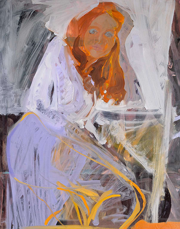 Elaine Speirs  Lilac Dress, 2017  Oil on board  38 1/5 × 30 3/10 in  97 × 77 cm