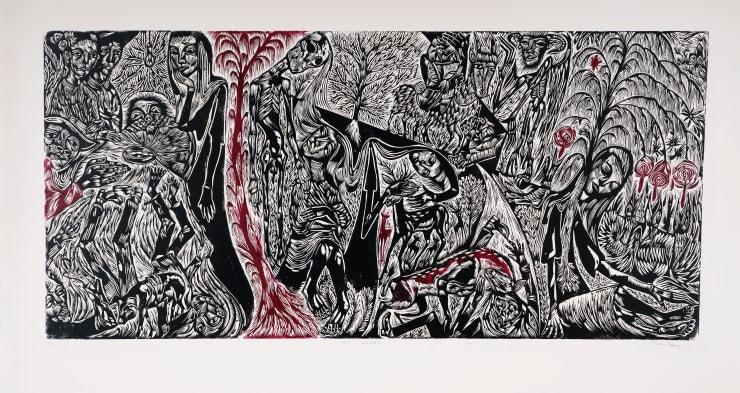 John Abell Hard Scrabble, 2019 Linocut 90 x 200 cm
